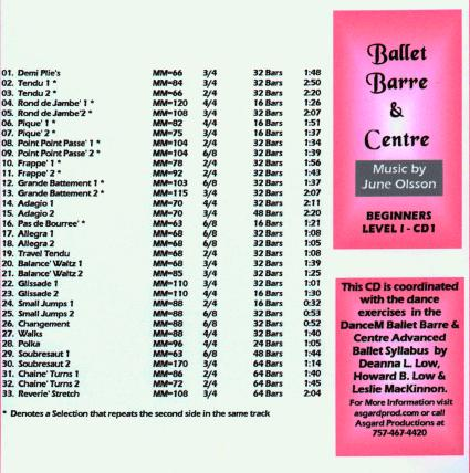 Ballet Barre & Center - Beginners Level I CD by June Olsson