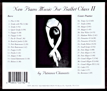 New Piano Music for Ballet Class II -  CD backcover