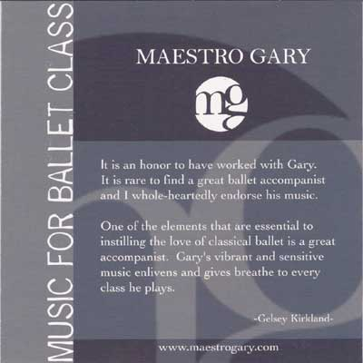 Music for Ballet Class - CD by Maestro Gary